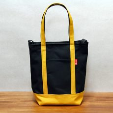 黒黄の縦長ジップトップ収納トート